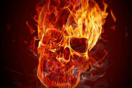 горящий череп
