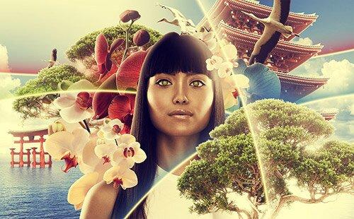 Иллюстрация в азиатском стиле.