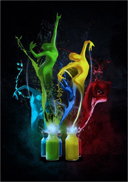 Танцоры из краски.
