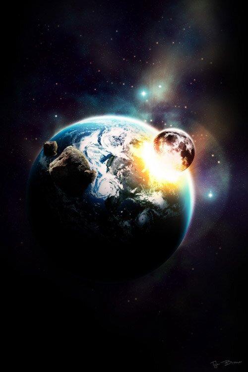 Столкновение луны с землёй.