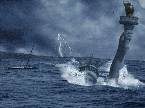 Катастрофа: Цунами поглотила статую свободы - урок Photoshop.